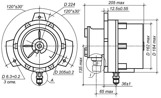 Габаритные и присоединительные размеры: D224 3 отв. D6.3+0.2 ширина: 205 max