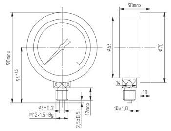 Габаритные размеры ДМ 8008 исп.1 (Д корп. 70мм)
