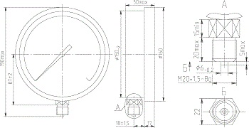Габаритные размеры ДМ 8008 исп.2 (Д корп. 150мм)